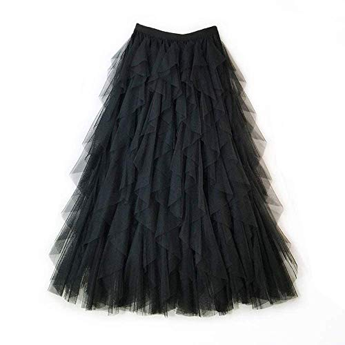 Gonna di Pizzo da Donna A-Line Layered Princess Lotus Leaf Stitching Layered Layered Tulle Midi Gonna Casual Fashion Maxi Skirt (Color : Nero)