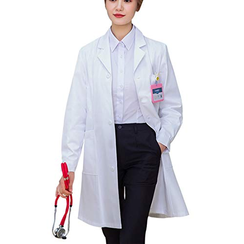 Huahuamini White Women 41 Inch Long Coat Scientist Workwear Uniform with 3 Button Closure (White, Large)