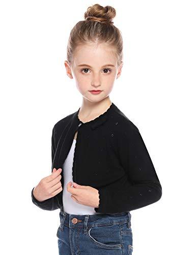 Hawiton Girl Cotton Cardigan Sweater Kids Girl Long Sleeve Knit Shrug Button Down Bolero Sweater Coat Tops Jackets Black