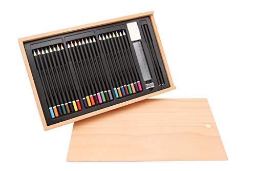 Pennenset 30-delig in houten doos, beuken FSC®, stiftenbox, kleurpotloden, kleurpotloden, tekenstiften