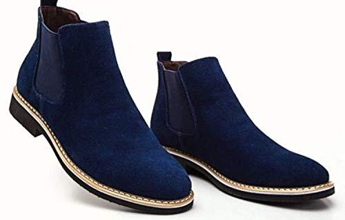 Handmade Men's Casual Blue Suede Jumper