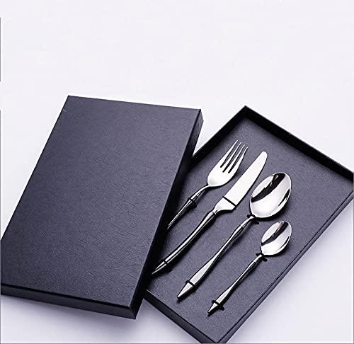 OUDEING Cutlery Set,Conjunto de Cubiertos, Conjunto de Cubiertos de Acero Inoxidable de 24 Piezas, Servicio para 6, Incluye Cuchillos, Tenedores, cucharas-Plata Negra 24pcs
