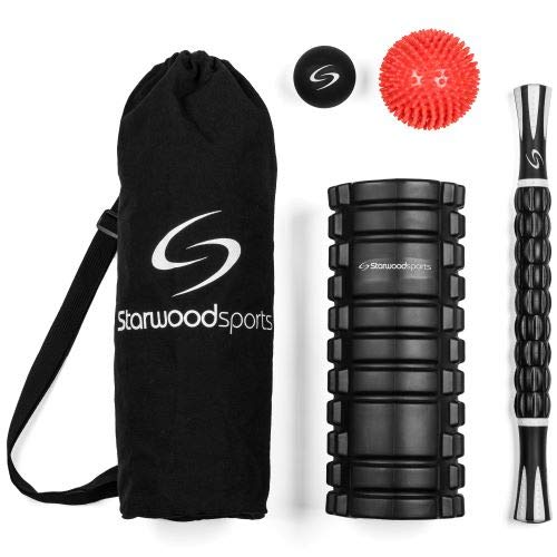 Set de recuperación con rodillo de espuma, bastón de masaje, pelota de masaje Lacrosse y pelota de masaje con pinchos