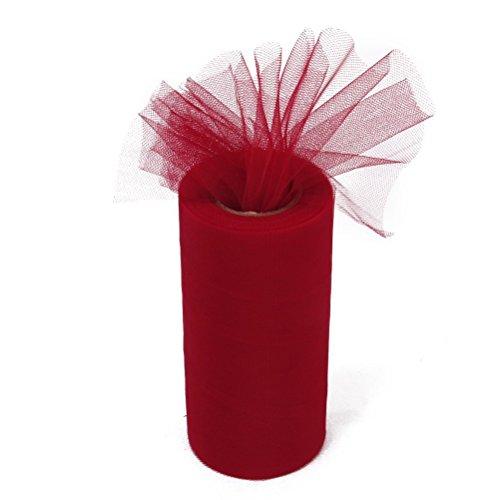 Pixnor Rotolo di Decorazione di Nozze Fai da te Tulle Craft Tutu - Rosso