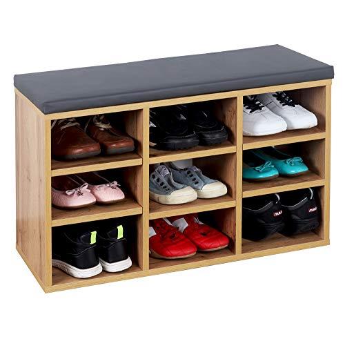 RICOO WM035-EW-A Banco Zapatero 79x49x30 Armario Interior con Asiento Organizador Zapatos Mueble recibidor Perchero Entrada Madera Roble marrón