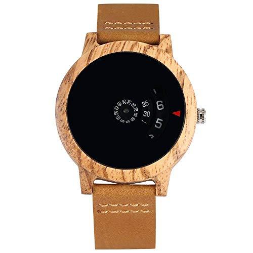 UIOXAIE Reloj de Madera Minimalista Tocadiscos Reloj de Madera Esfera única en Forma de Abanico Diseño artístico Cuarzo Caja de sándalo Rojo Correa de Cuero Hombre, Reloj marrón
