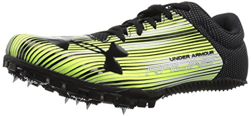 Under Armour Men's Kick Sprint Spike Running Shoe, High-Vis Yellow (300)/White, 10.5