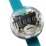 ZDYS Reloj Digital Kit Bricolaje con Cubierta Transparente Accesorios DC 3V Durable Smart Single Chip Gift Módulo alimentación Reloj electrónico Correa para Principiantes o Pantalla LED