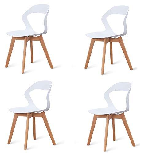Injoy Life - Juego de 4 sillas de comedor modernas de cocina de plástico con patas de madera maciza de haya, sillas de escritorio para dormitorio, color blanco