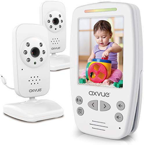 Video Baby Monitor 2 Cameras Large Vertical Screen ComfortDesigned Handheld 1000ft Range Secure Wireless Technology Auto Night Vision Cam Temperaure Alert