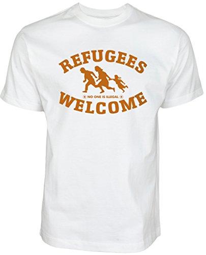 Refugees Welcome Shirt Weiß mit orangener Aufschrift - Nobody is illegal Gegen Nazis gegen AFD Pro Asyl gegen Pegida Politik Shirt (XL, Schwarz)