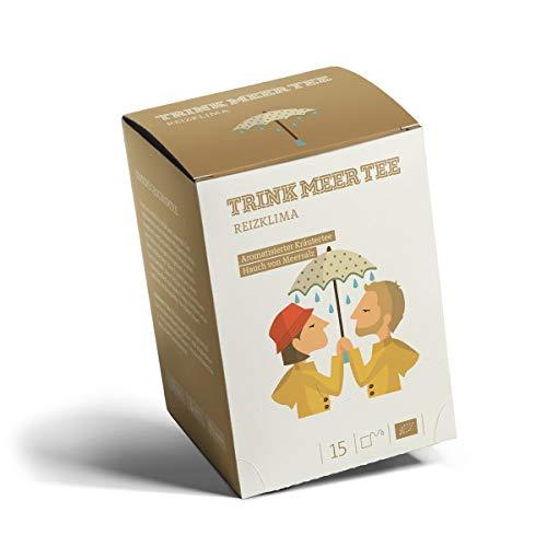 Trink Meer Tee REIZKLIMA - Bio-Kräutertee   hocharomatisch   Bio Tee mit einem Hauch Meersalz, Ingwer und vielen weiteren Kräutern und Gewürzen   Biotee in handgenähten Teebeuteln I 15 x 3g = 45g