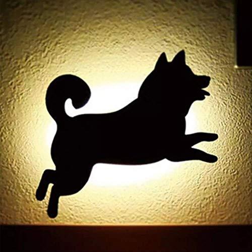Led Animal Shape Sensor de movimiento Control Smart Sound Lámpara de pared Home Corridor Balcón Iluminación nocturna Como se muestra en negro