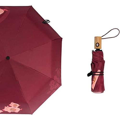 WTFYSYN Viaje para Hombres Paraguas,Paraguas de Tres Pliegues Completamente automático, Protector Solar y protección UV Paraguas de 8 Huesos,Hombre Paraguas de Viaje