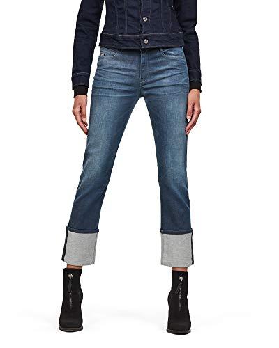 G-STAR RAW Damen Jeans Noxer High Waist Straight, Blue (Worn In Gravel Blue C431-B844), W28/L30