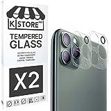 [2 Piezas] Cristal Templado Para Lente De Camara iPhone 11 Pro Max Protector Objetivo Camara Vidrio Templado [Adhesivo En Todo El Cristal] [9H Dureza] [2.5D Borde Redondeado] iPhone 11 Pro Max