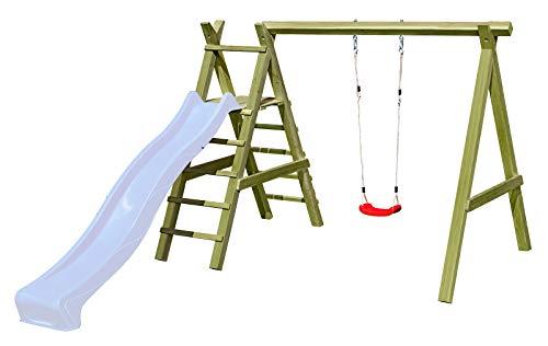 Gartenpirat Schaukelgestell Holz-Schaukel mit Leiter für Rutsche