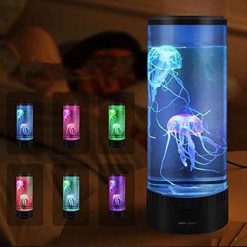 XW Luz De Medusas LED con Cambio De Color, Luz De Noche De Acuario De Simulación con Control Remoto para La Oficina De Dormitorio Doméstico Regalo Decorativo,Remote Control Version