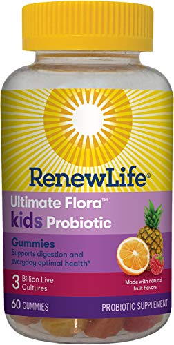 Renew Life Kids Probiotic - Ultimate Flora Kids Probiotic Gummies Probiotic Supplement- Dairy & Soy Free - 3 Billion CFU - Fruit Flavor, 60 Chewable Gummies