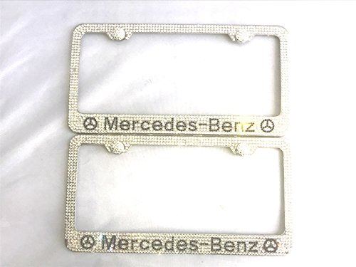 Boobo Ice Out License Plate Cover Frame Holder Silver Bling Ring Emblem with Genuine Austrian Crystal for Mercedes Benz (2)