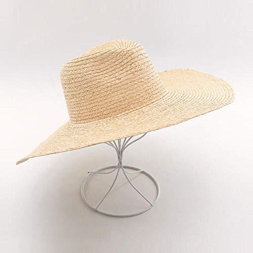 KCJMM-HAT Pamelas para Mujer para Hombre Sombrero de Paja de Rafia Natural de Verano Sombrero de Jazz Grande Protector Solar al Aire Libre Visera de Playa Sombrero para el Sol @ Color primario