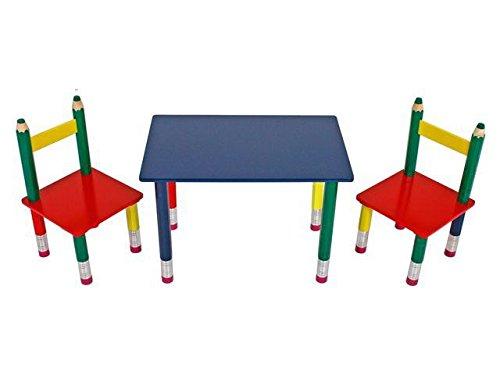 AVANTI TRENDSTORE - Beio - Set mobiletti per bambini con tavolo e 2 sedie a forma di matite, in legno MDF colorato. Dimensioni: Tavolo 60x42x39 cm; Sedie 28x50x28 cm
