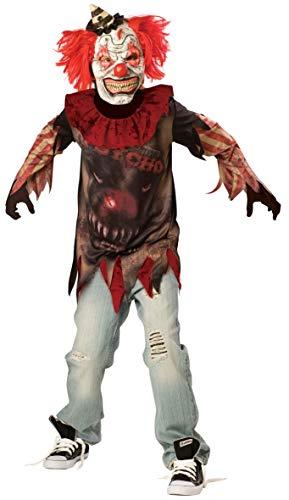 Amscan 996977 - Kinderkostüm Horror Clown, Gesichtsmaske mit Haaren u. Minihut, Kragen, Langarmshirt, Gruselkostüm, Killer, Mottoparty, Karneval, Halloween