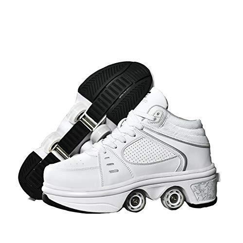 KUXUAN Patines 4 Ruedas Niña,Zapatos Multiusos 2 En 1,Doble Rodillo Zapatos De Skate Zapatos Invisible De Polea De Zapatos Zapatillas De Deporte Luz Zapatos,White-Highhelp-36EU/UK3