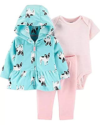 Carter's Baby Girls' 3-Piece Cardigan Sets (6 Months, Turquoise/Pink)