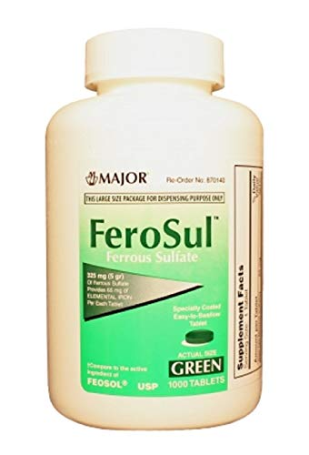 Major FEROSUL 5GR FC Green TABS Ferrous SULFATE-325 MG Green 1000 Tablets UPC 309047591800