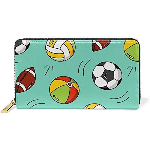 Leder Zip Around Kartenhalter Handtasche Clutch Bag Sport Fußball Fußball Rugby Geldbörse Echtes Leder Zip Around Kartenhalter Große Reisetasche Clutch Bag