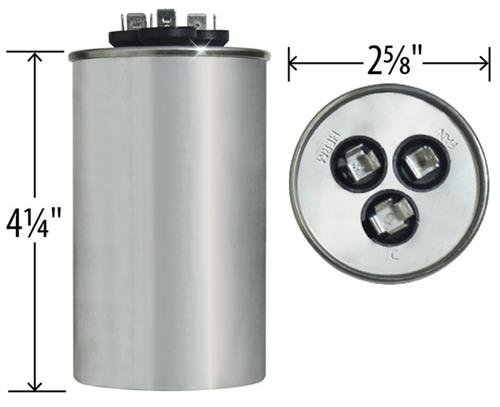 Carrier//Bryant//Payne HC98KA051 Replacement 50 Made in The U.S.A. 5 uf//Mfd 370//440 VAC AmRad Round Dual Universal Capacitor