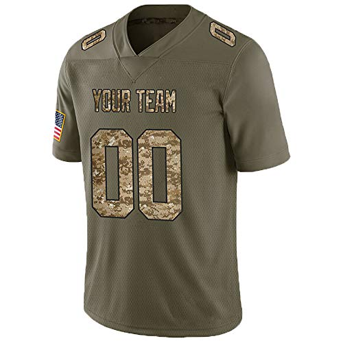 Pullonsy Camo Salute to Service Customized Football Jerseys for Women Embroidery Team Name and Your Numbers,Mesh Desert Camo-Black,Size S