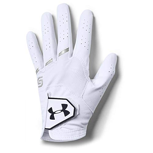 Under Armour Jungen CoolSwitch Golf Handschuhe, White/Metallic Silver/Black, LLG