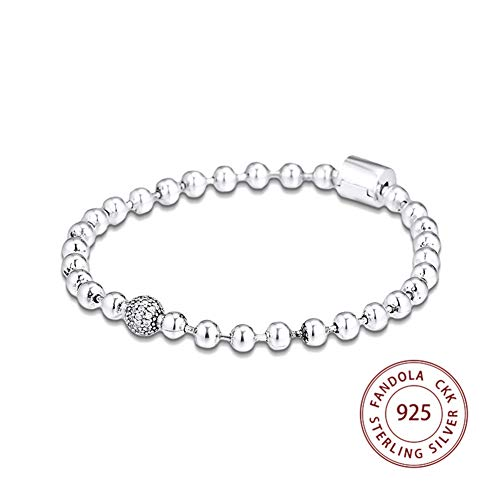 HXML Perlen & Pflastern Armband Femme 925 Sterling Silber Kette Armreifen Armbänder Für Frauen Mode Schmuck,Length:21cm