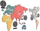 DSADDSD' Reloj de Pared DIY 3D Kit Mapa del Mundo Mapa Grande Etiqueta Moderno Decorativo Non Ticking Sala de Estar Decoración Silent Batería Operada Cuarzo Multicolor