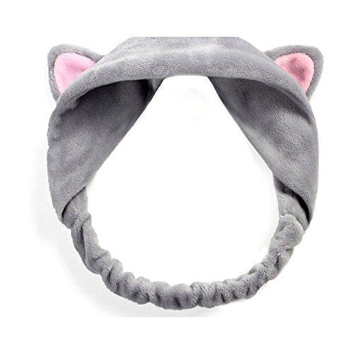 Pinzhi femmes fille Cute Cat oreille doux serviette Bandeau cheveux Wrap Bain Spa Outil de Maquillage