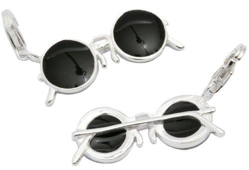 My Home Crystal Charm Anhänger Nickelbrille (Emaille schwarz)