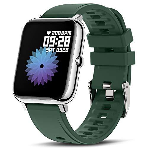 CanMixs Smartwatch Fitness Armband Uhr 1.4 Zoll Voll Touchscreen Fitness Tracker IP67 Wasserdicht Armbanduhr Sportuhr mit Pulsuhren Schrittzähler Musiksteuerung Damen Herren für iOS Android Handy