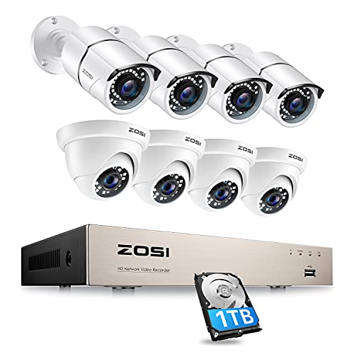 ZOSI 8CH 1080P PoE Home Security Camera System with Hard Drive 1TB,H.265+ 8Channel 5MP NVR Recorder,8pcs Wired 1080P Outdoor Indoor PoE IP CCTV Cameras with Night Vision, Motion Alert, Remote Access