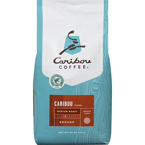 Caribou Coffee Caribou Blend, Medium Roast Ground Coffee, 20 Ounce Bag, Rainforest Alliance Certified