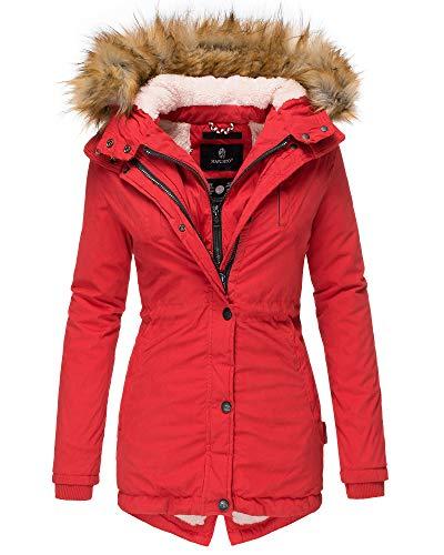 Marikoo Damen Winter Jacke Parka Kurz Mantel Teddyfell Fellkragen Jacke AKR (L, Rot)