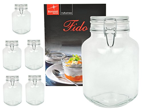 Bormioli 6er Set Einmachglas Bügelverschluss Original Fido 3,0L incl Rezeptheft