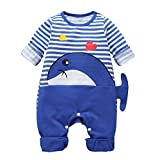 satiny Infant Baby Unisex Jumpsuit Casual Lose Langarm gestreift Overall Cartoon Wal Print Strampler Overall Kleidung