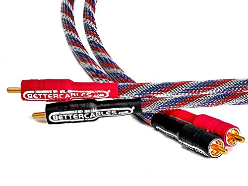 3 Feet Better Cables Silver Serpent Patriot Edition Red/White/Blue RCA Audio Interconnect Cables - Stereo Pair (2 Cables) High-End, High-Performance, Premium Hi-Fi Audio