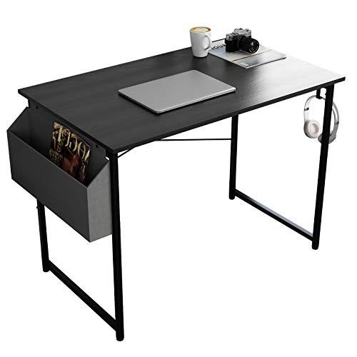DlandHome Escritorio para computadora de escritura, 100 x 50 cm, escritorio de oficina para estudiantes y trabajadores, mesa de ordenador portátil con bolsa de almacenamiento y gancho para auriculares