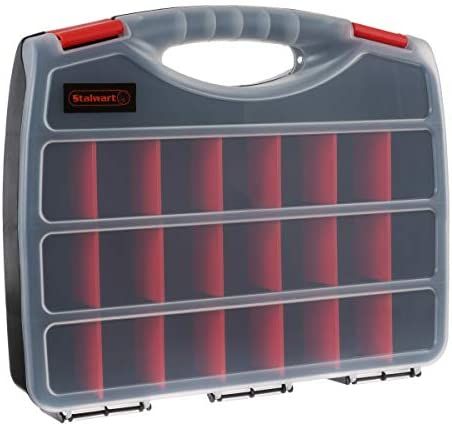 Portable Storage Case with Secure Locks and 23 Adjustable Compartments for Hardware Screws Bolts product image