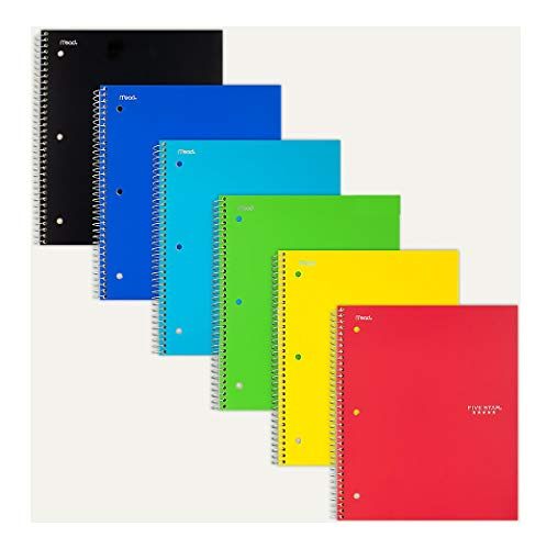 """Five Star 06190 11"""" X 8-1/2"""" Graph Ruled 1 Subject Notebook Assorted Colors (Pack of 2)"""