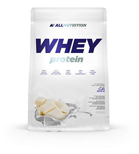 ALLNUTRITION Whey Protein, Nutrition weisse Schokolade Pulver mit Aminosäuren Komplex und Bcaa Proteinpulver, für Muskelaufbau, Fitness, Energy | White Chocolate 2270g