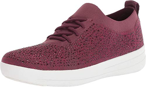 FitFlop Women's F-Sporty Uberknit Sneakers-Crystal Trainers, Red (Deep Plum Jam 601), 5.5 (38.5 EU)